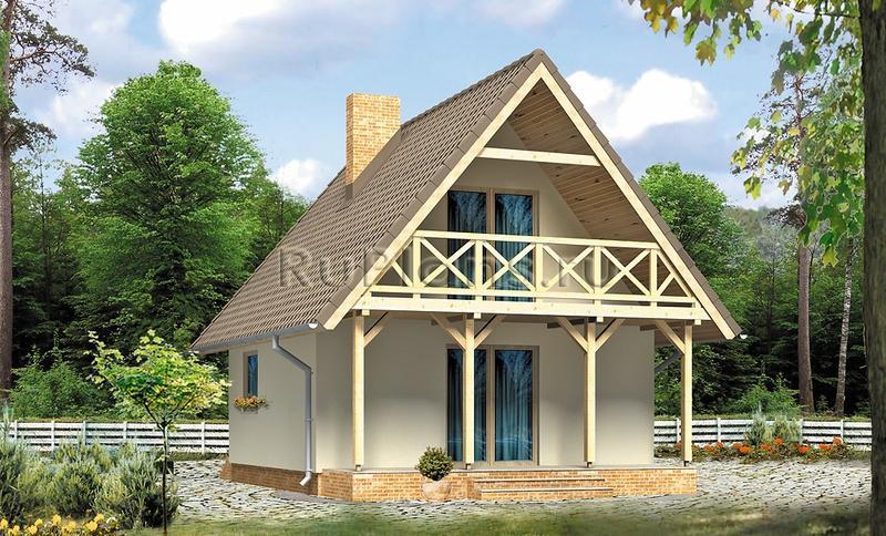 Одноэтажного дома с мансардой вид 2