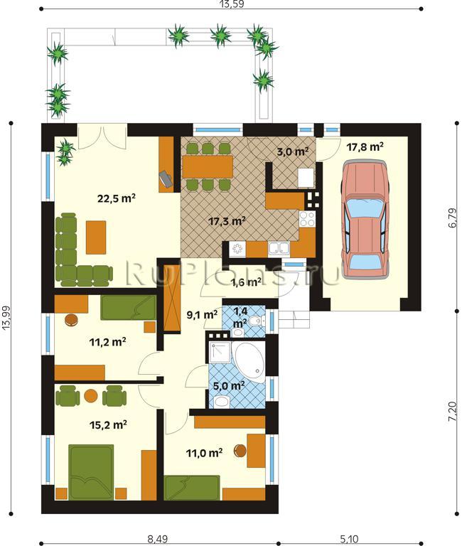 Для дома и офиса план дома с гаражом