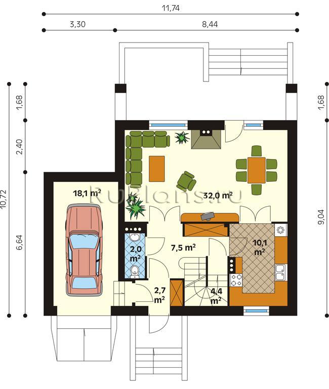 проект дома 6 на 7 с горажом пример: время