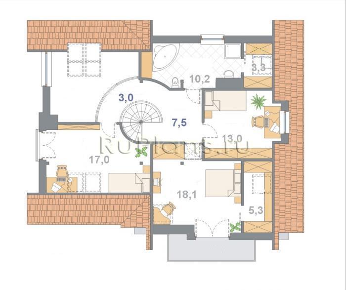 Проект одноэтажного дома с мансардой и гаражом.  План 2.