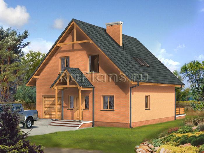 Проект одноэтажного кирпичного дома с