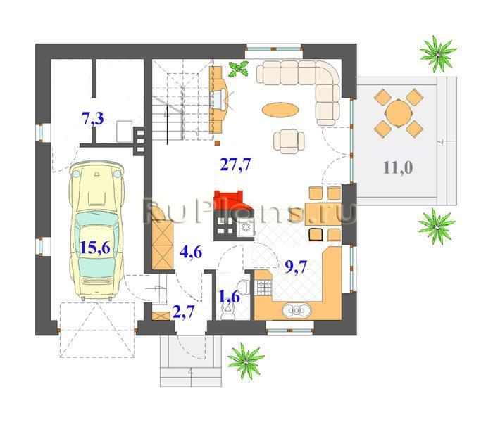 Кирпичного дома с мансардой и гаражом