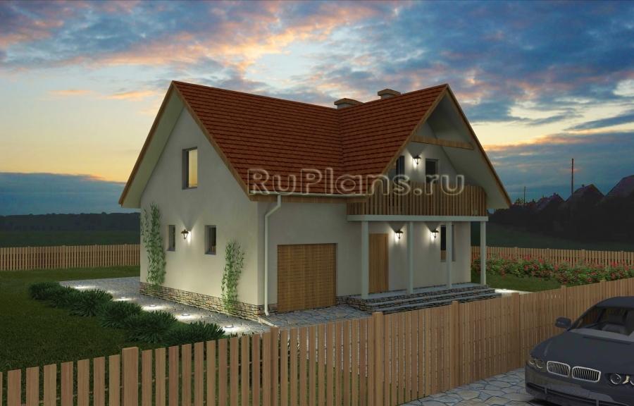 заказать Дом с мансардой, гаражом, террасой и балконами Rg1574