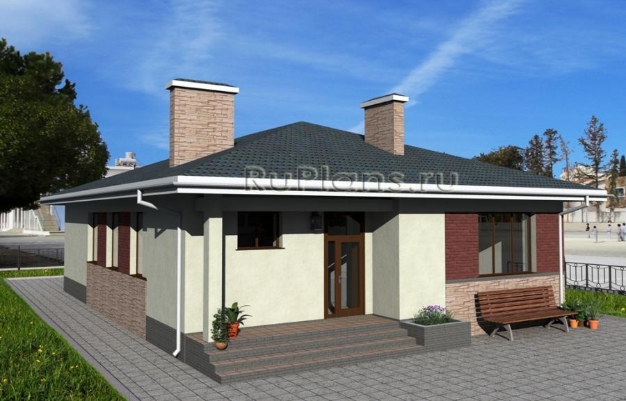 заказать Одноэтажный дом с террасой Rg1616