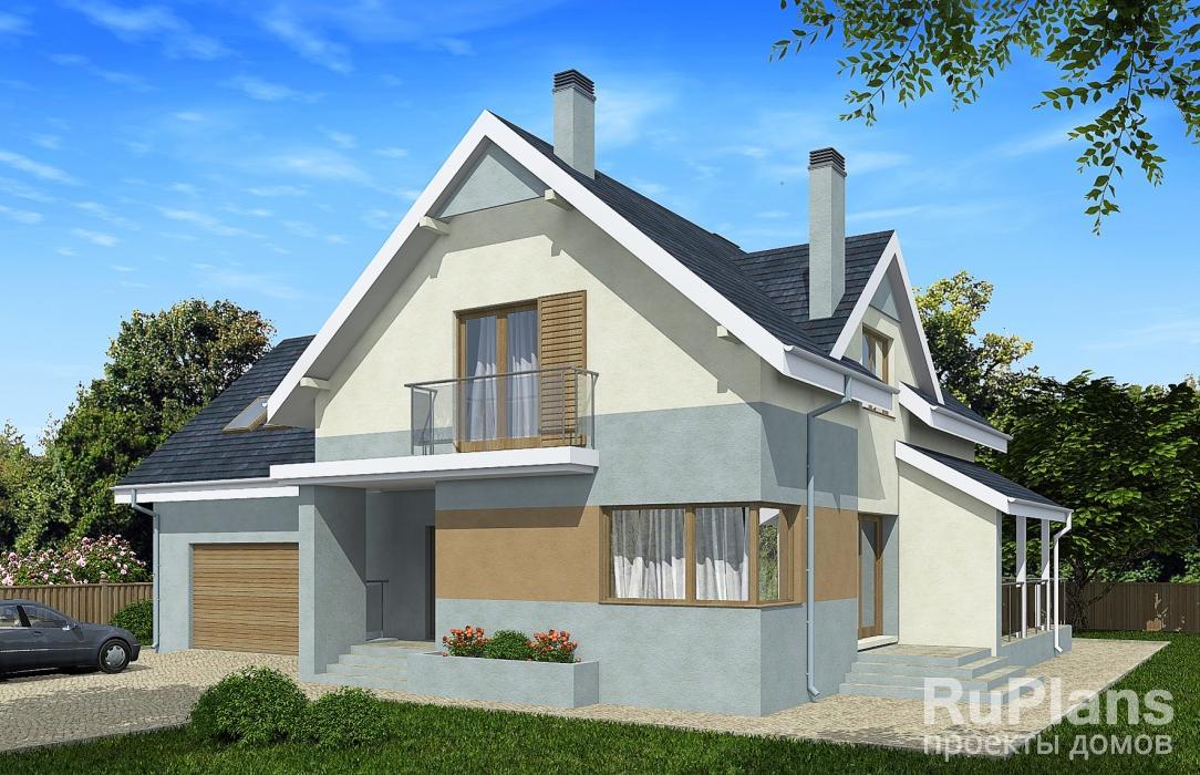 Дом с мансардой, гаражом на 2 машины, террасой и балконами r.