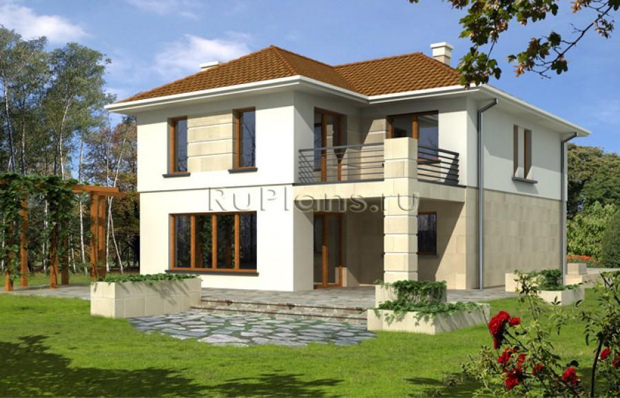 Двухэтажного дома с террасой вид 2