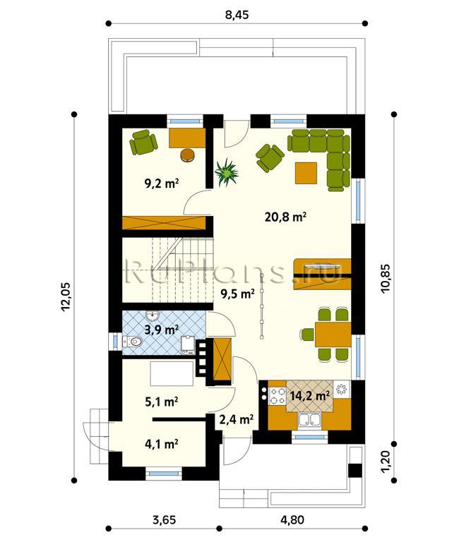 Одноэтажного узкого дома с мансардой