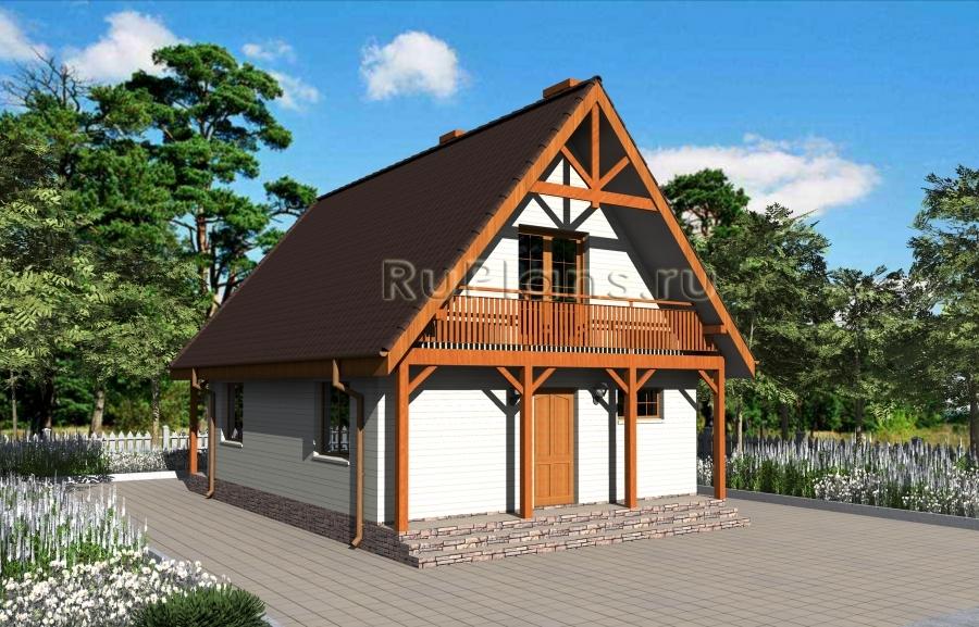 заказать Дом с мансардой, террасой и балконами Rg3209