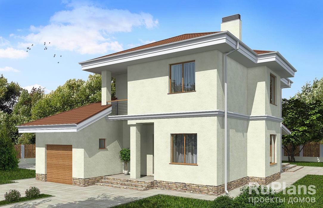 Двухэтажный дом с гаражом, террасой и балконами rg3223.