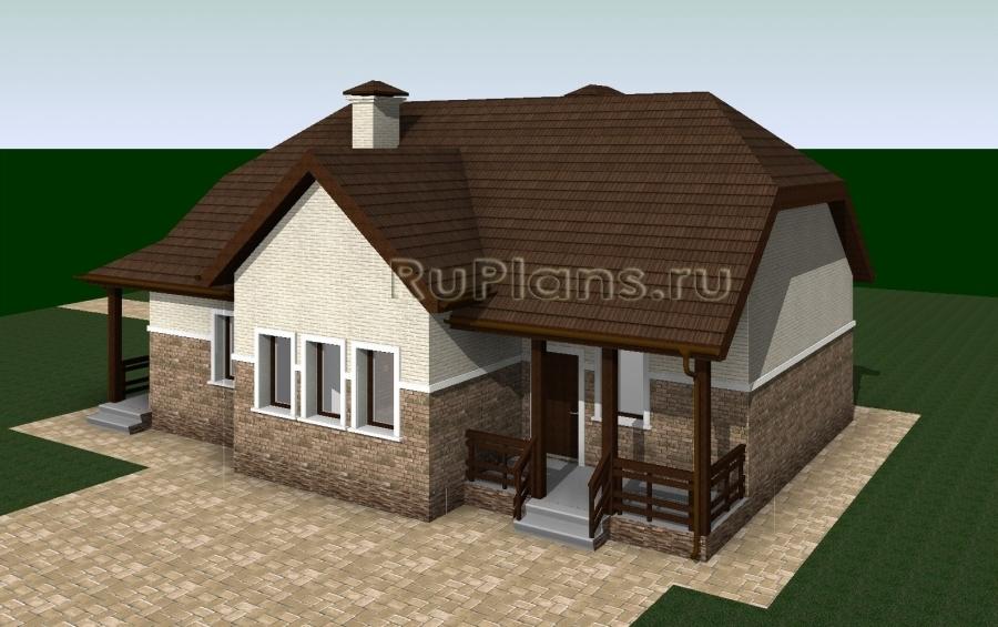 заказать Одноэтажный дом с террасой Rg3250