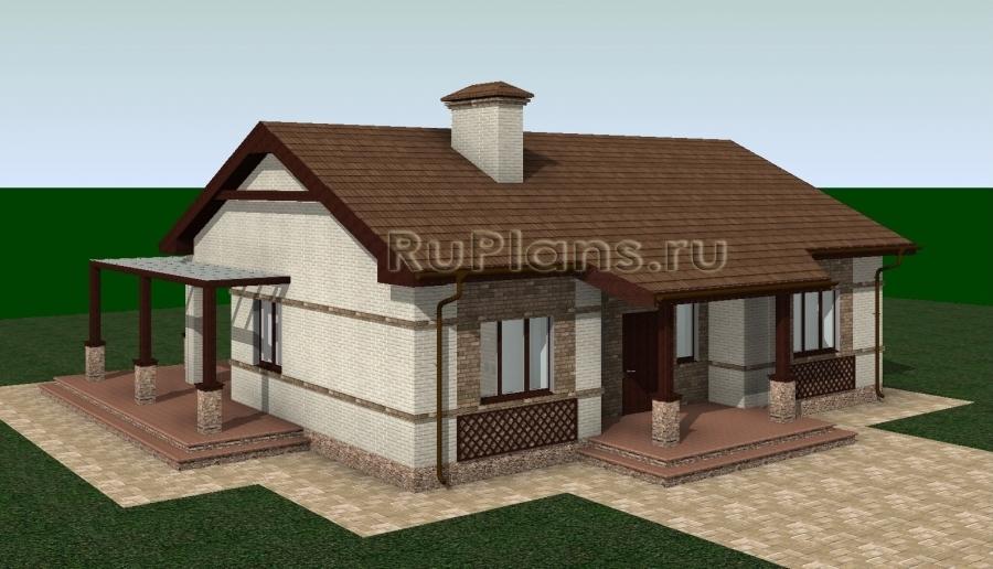заказать Одноэтажный дом с террасой Rg3252