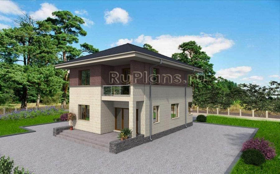 заказать Двухэтажный дом с гаражом,  террасой и балконом Rg3317