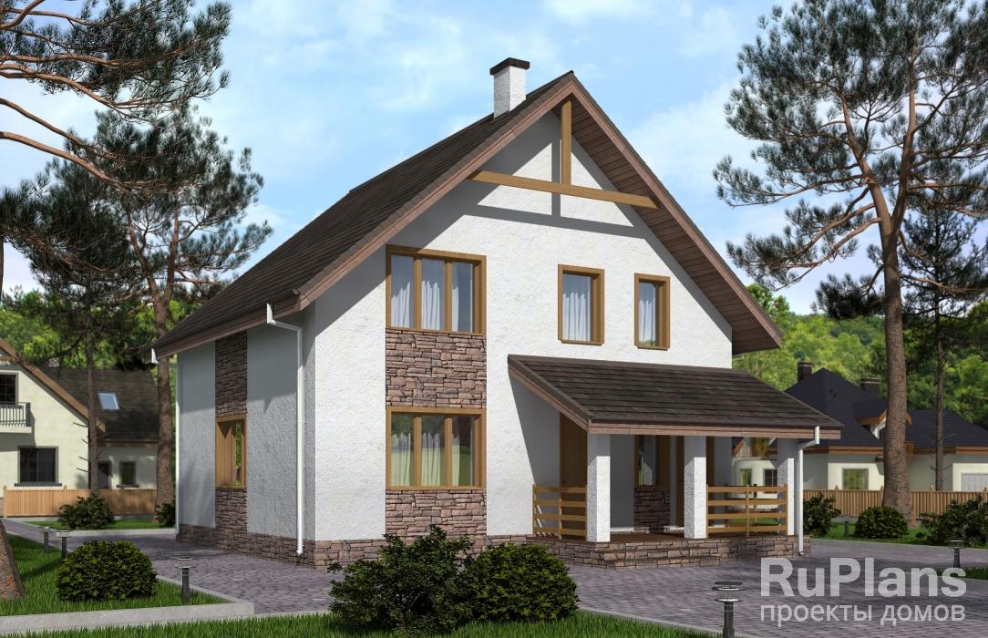 заказать Аккуратный дом с мансардой Rg3842