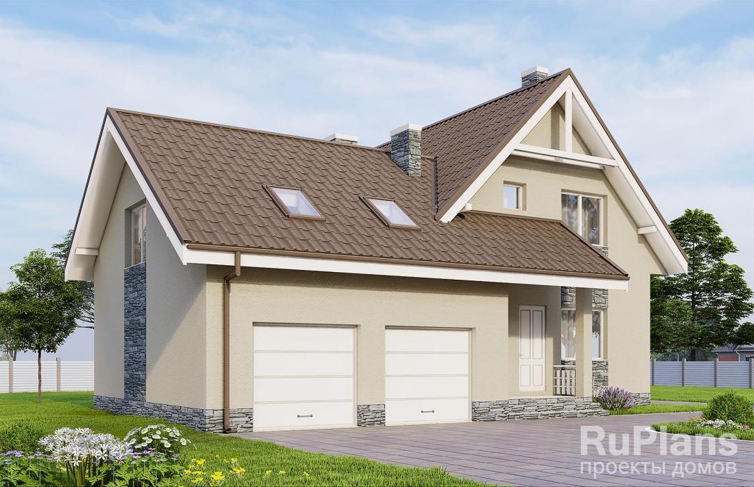 заказать Дом с мансардой, гаражом, террасой и балконом Rg3863