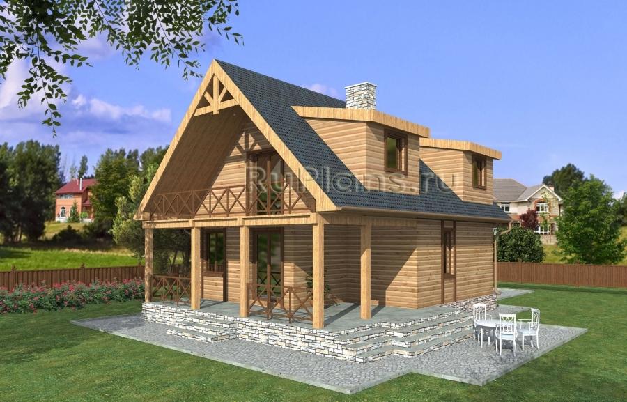 заказать Проект дома из бруса с мансардой Rg3889