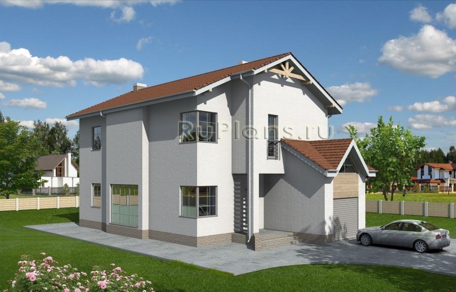 заказать Проект двухэтажного дома с гаражом Rg3910