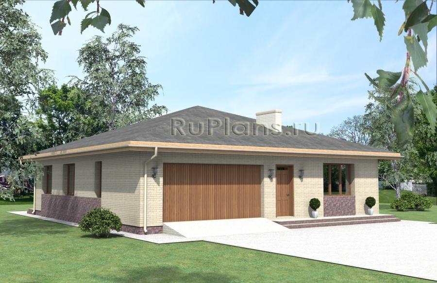 Проект одноэтажного дома с гаражом Rg3923