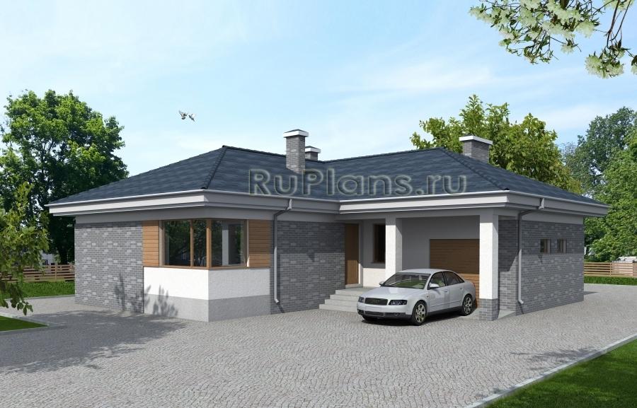 заказать Проект одноэтажного дома с гаражом Rg3924
