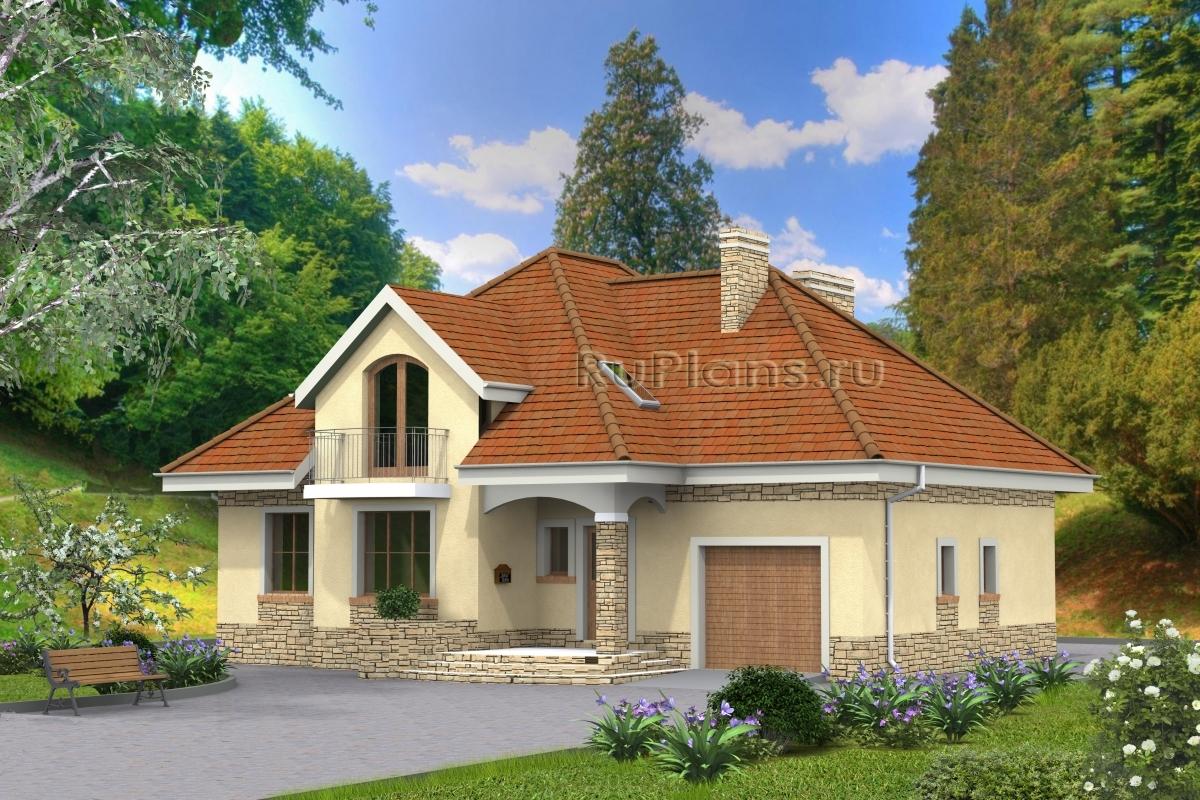 заказать Проект компактного одноэтажного дома с гаражом и мансардой Rg4752
