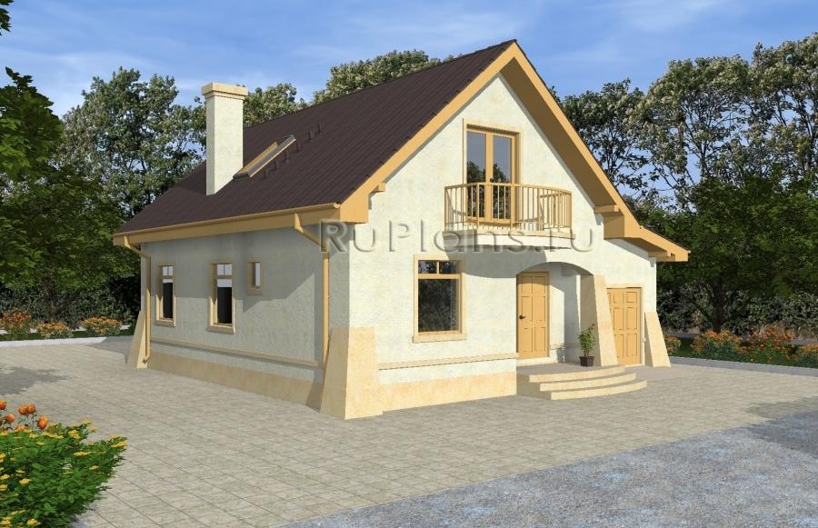 заказать Проект одноэтажного дома с мансардой и гаражом Rg4833