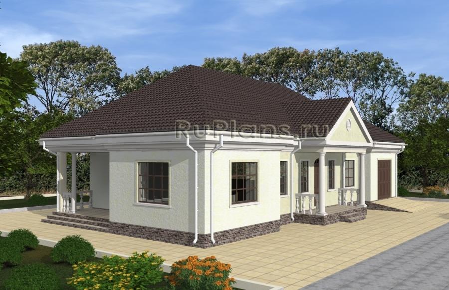 Проект одноэтажного дома с гаражом Rg4837