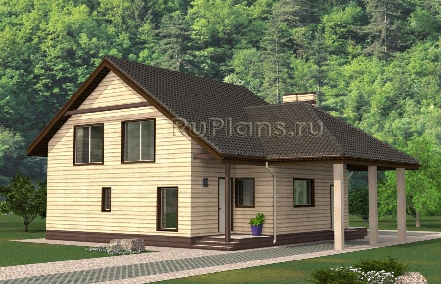 заказать Проект одноэтажного дома с мансардой Rg4838