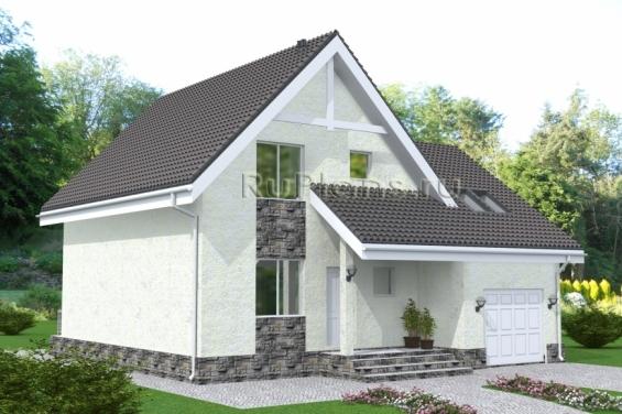 Дом с мансардой, гаражом, террасой и лоджией Rg4881