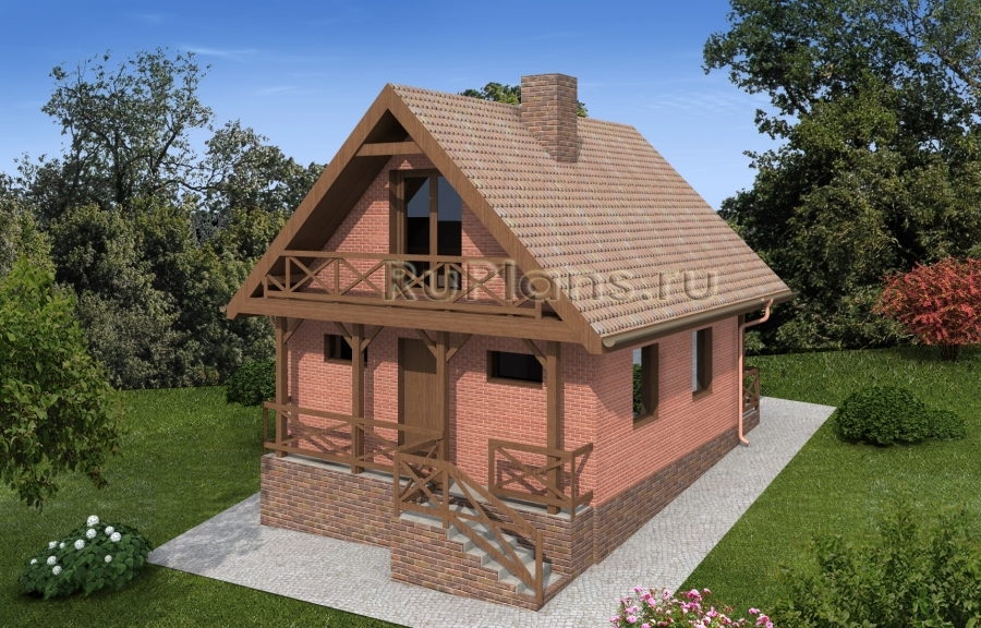 заказать Проект дома с мансардой на склоне Rg4892