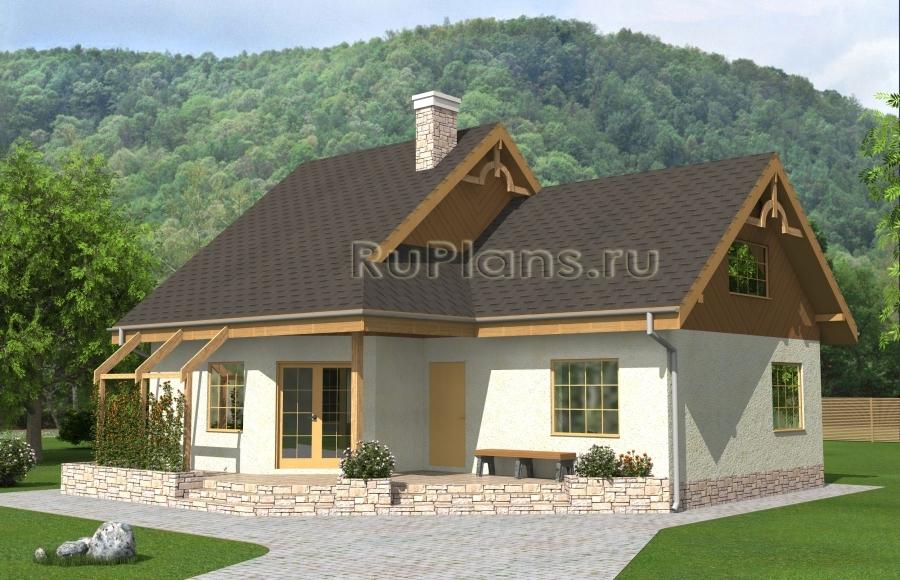 заказать Проект одноэтажного дома с мансардой и террасой Rg4899