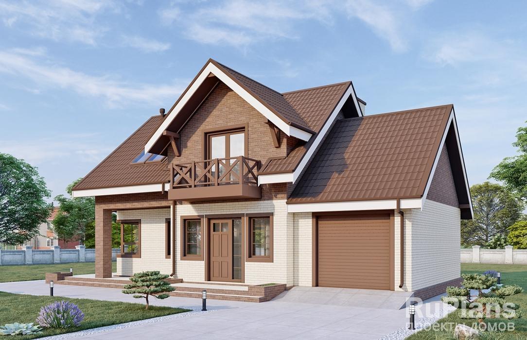 заказать Дом с мансардой, просторной террасой и гаражом Rg4945