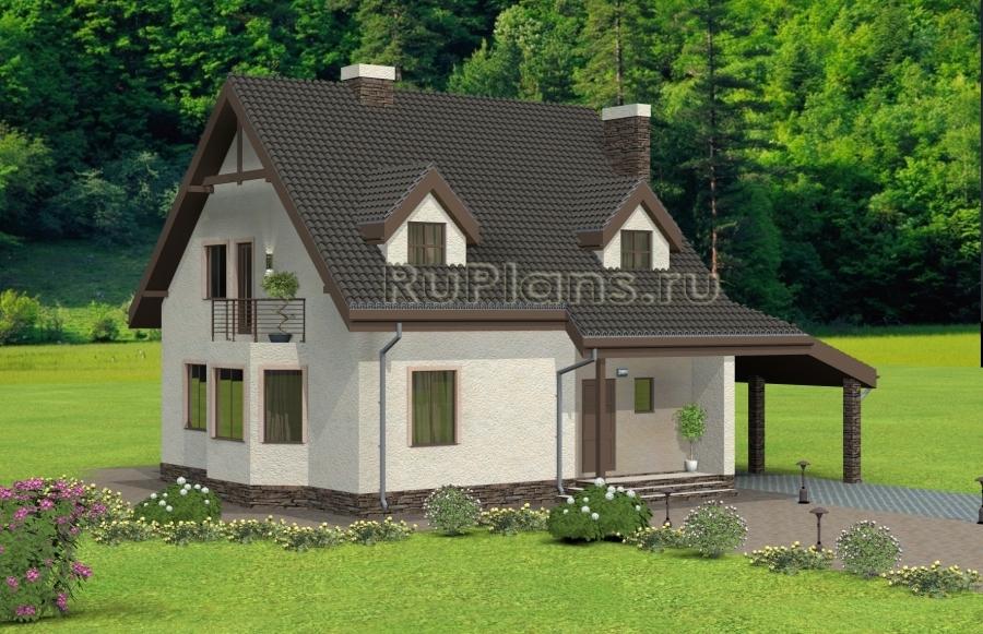 заказать Одноэтажный дом с мансардой и эркером Rg4950