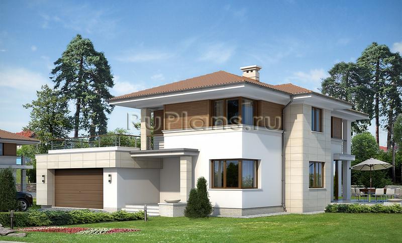Проект двухэтажного дома с гаражом на