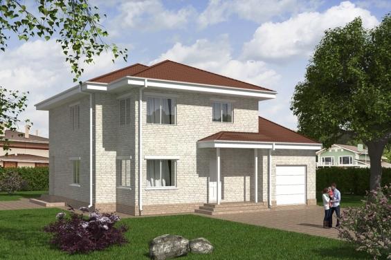Проект двухэтажного дома с широкой террасой Rg4959