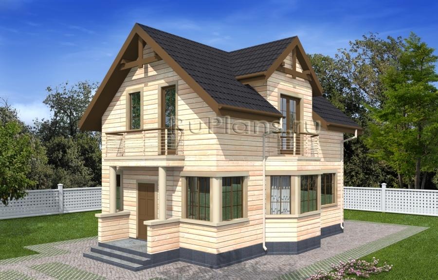 заказать Проект одноэтажного дома с мансардой и эркером Rg4960