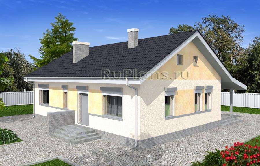 заказать Проект одноэтажного дома с террасой и навесом Rg4963