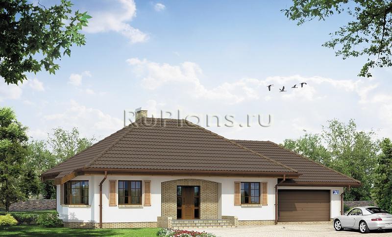 Проект одноэтажного дома с гаражом r523
