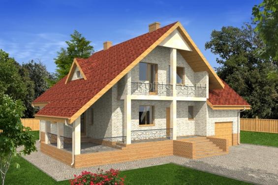 Одноэтажный дом с мансардой, гаражом и большой террасой Rg4970