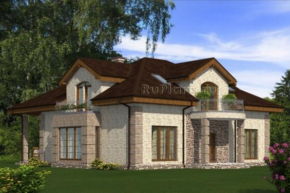 Дом с мансардой, террасой и балконами Rg5053