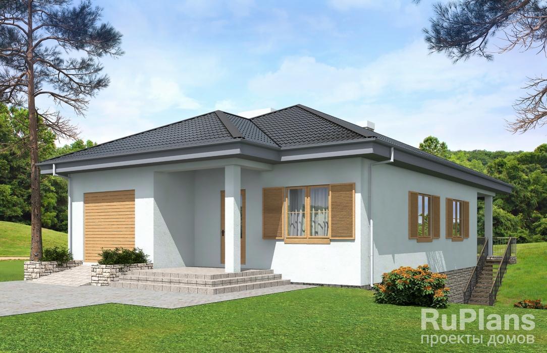 заказать Одноэтажный дом с террасой Rg5086