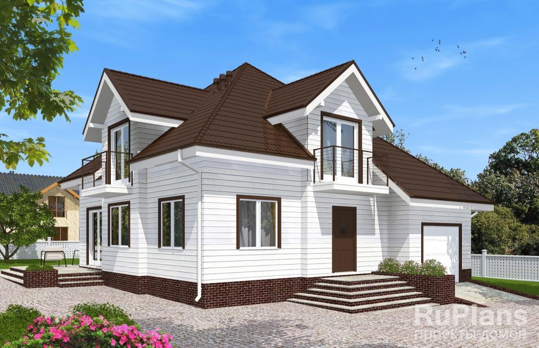 Одноэтажный дом с мансардой, гаражом, террасой и балконами r.