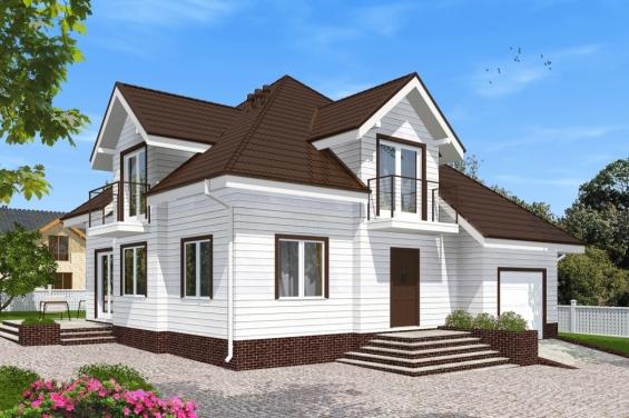 Каркасный дом с гаражом и мансардой купить секционные ворота алютех для гаража