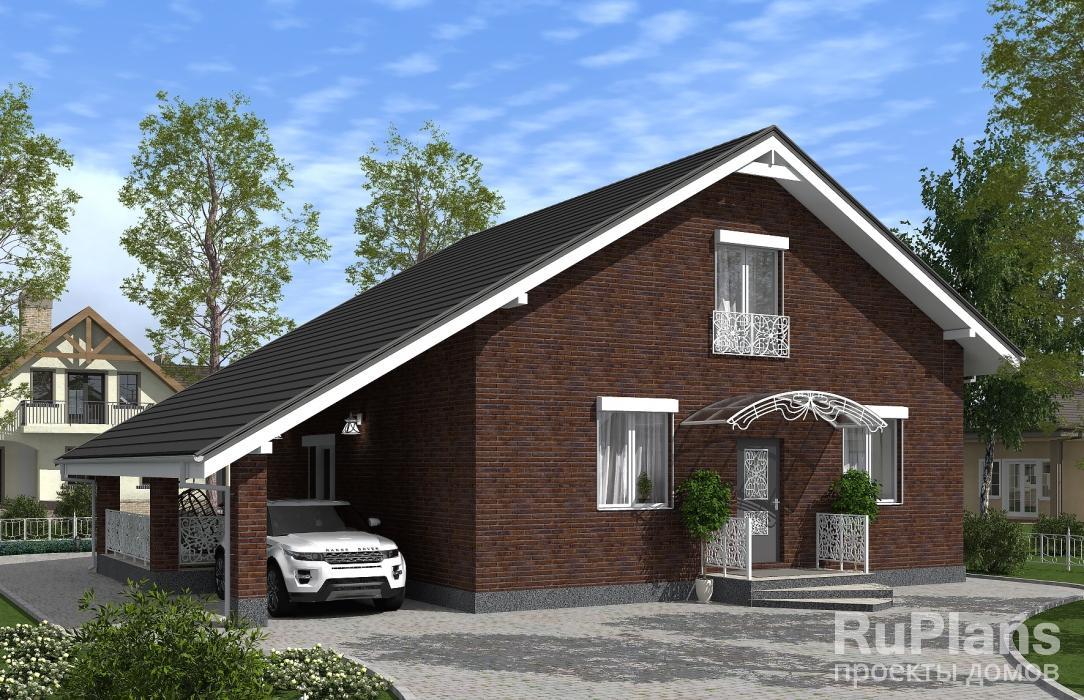 заказать Проект одноэтажного дома с мансардой, навесом и террасой Rg5105