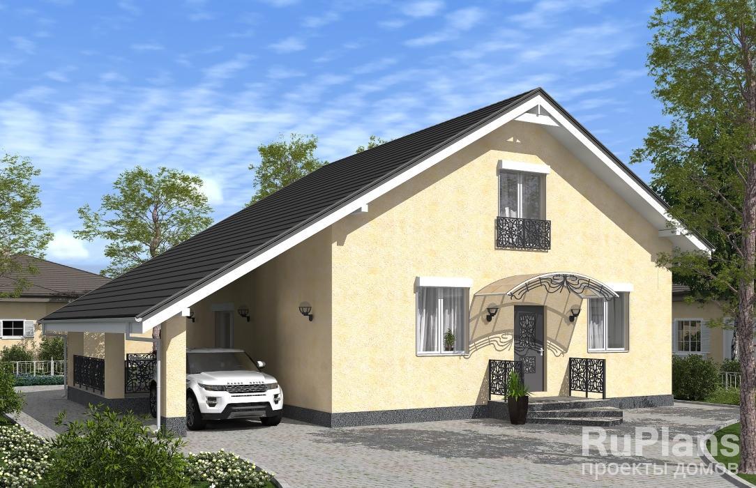 заказать Проект одноэтажного дома с мансардой, навесом и террасой Rg5106