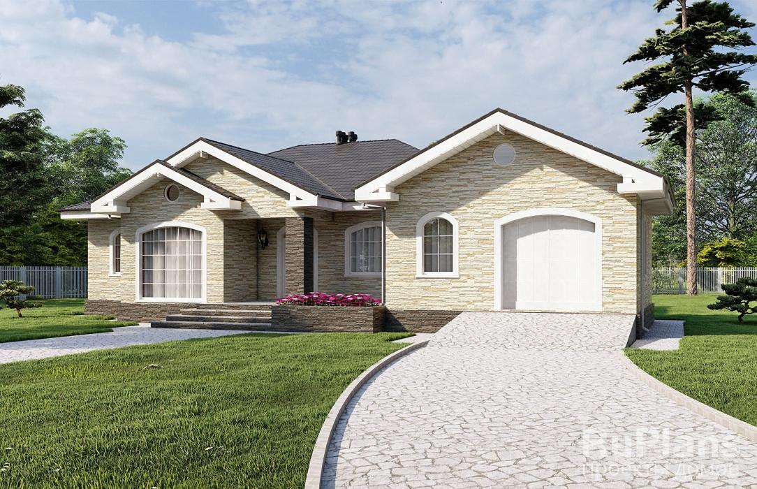 заказать Проект одноэтажного жилого дома с гаражом и террасами Rg5111