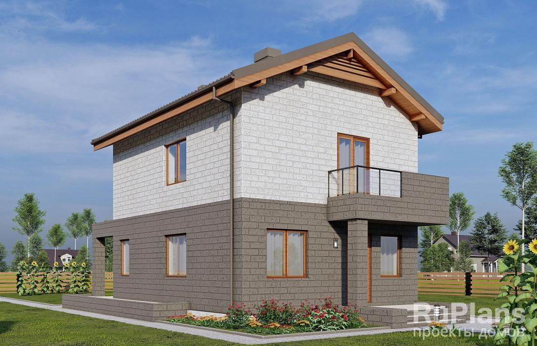 Двухэтажный дом с террасой и балконом rg5113.