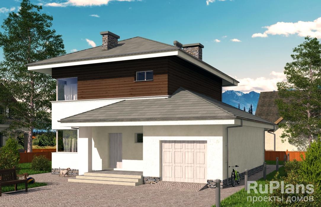 Двухэтажный дом с подвалом, гаражом, террасой и балконом vg2.