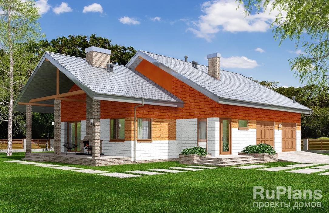 заказать Проект одноэтажного жилого дома с террасой и гаражом Rg5134