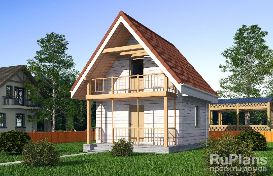 Одноэтажный дом с подвалом, мансардой, крыльцом и балконом v.