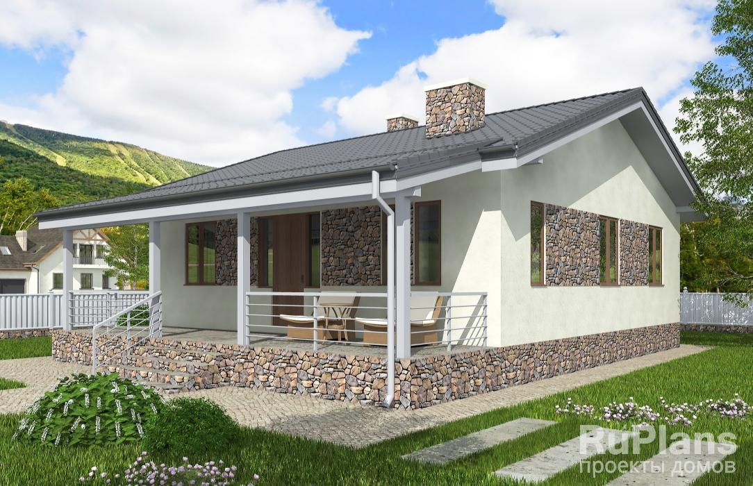 Проекты домов на метров х Одноэтажный дом с террасой rg5147