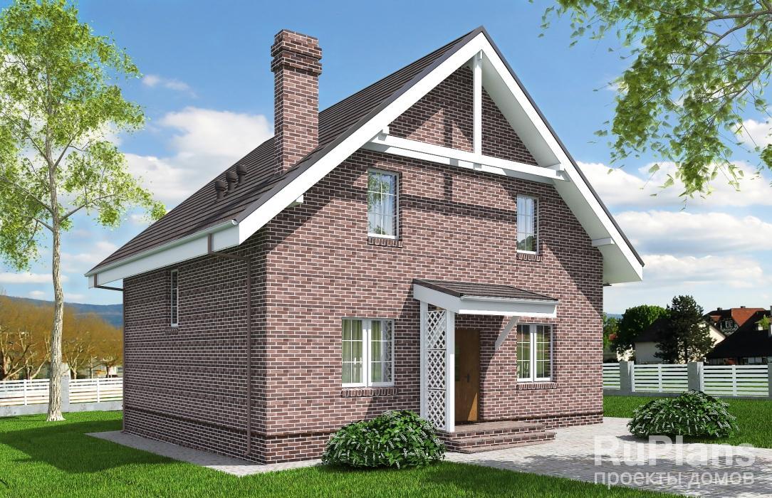 заказать Проект одноэтажного жилого дома с мансардой и террасой Rg5156